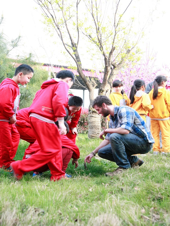 Teacher Dan with his students in rural China.