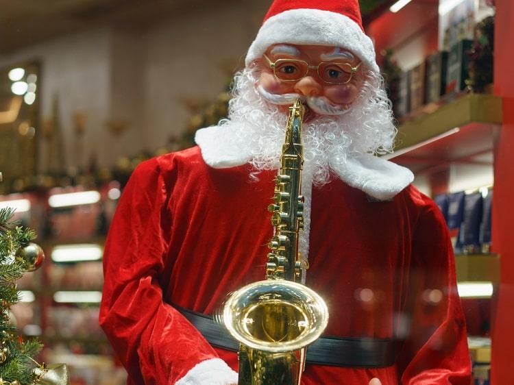 Santa Claus playing the saxophone