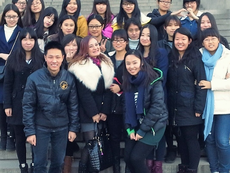 Teacher Arleen Cotas teaching English in Jinan, Shandong, northern China.