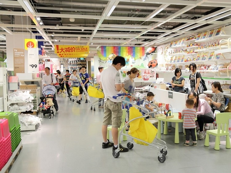 Inside a typical Ikea store in China