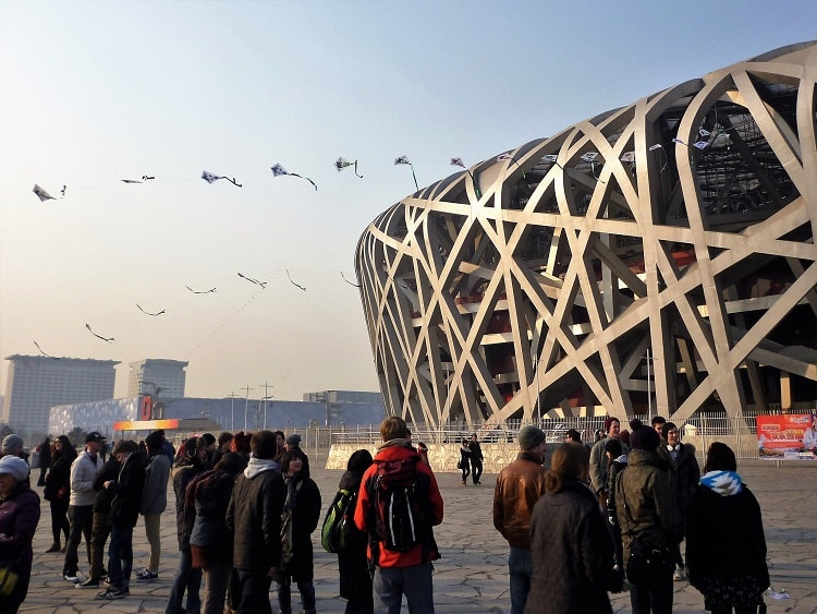 Kite flying near the Bird's Nest in Beijing, China.