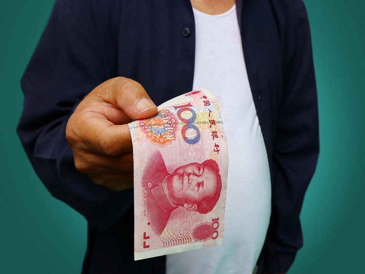 A man paying for a massage or prostitute in China