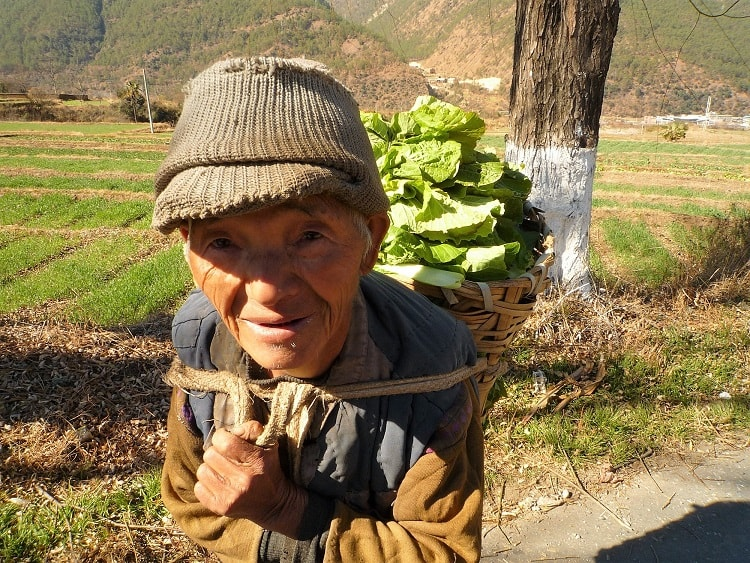 Old Chinese man carrying vegetables.