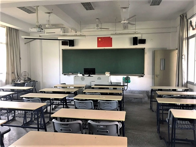 A traditional classroom set-up in China.