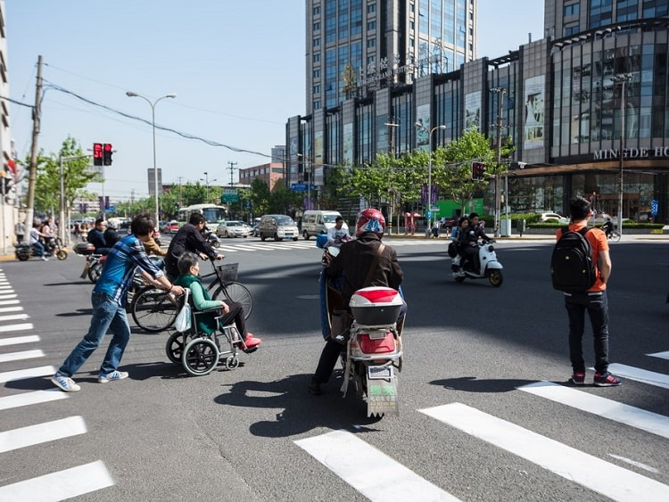 Busy pedestrian crossing in China