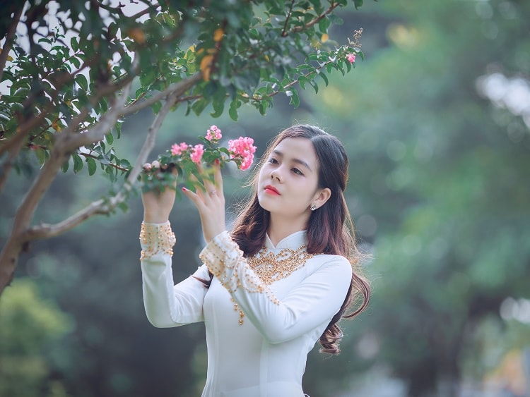 Chinese girl looking at a flower on a tree in a park