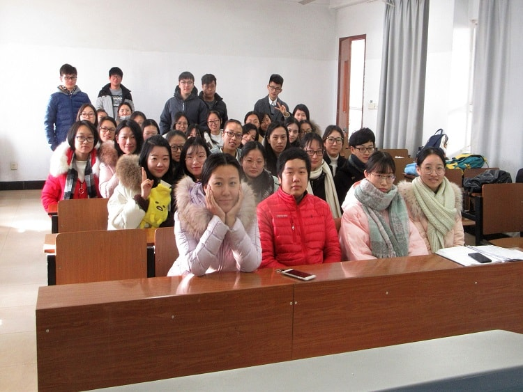 Chinese students in a classroom at Jiangsu University China.