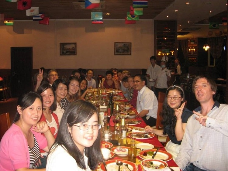 Foreign teacher welcome dinner in China