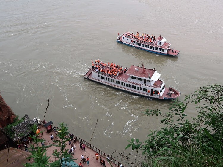 Boats at Leshan Giant Buddha