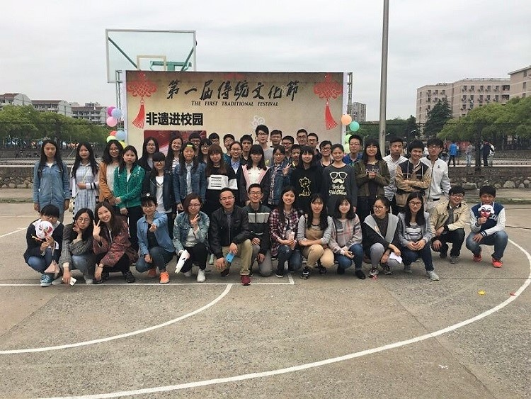 A large group of students from Jiangsu University in China.