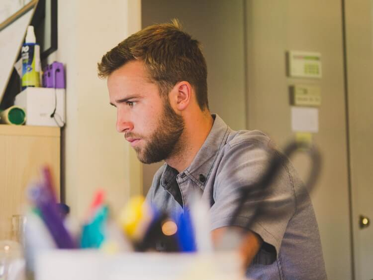 Man completing a TEFL course online