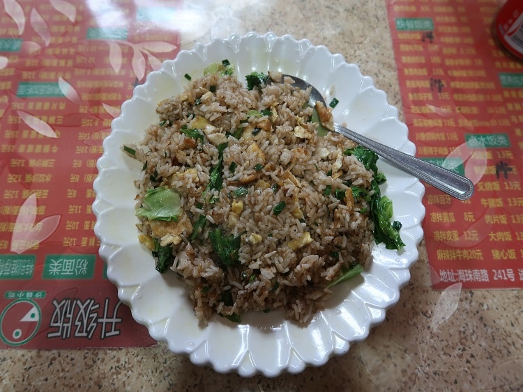 Vegetarian fried rice in China