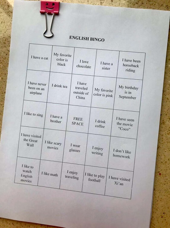 A game you can play at a Chinese university is bingo