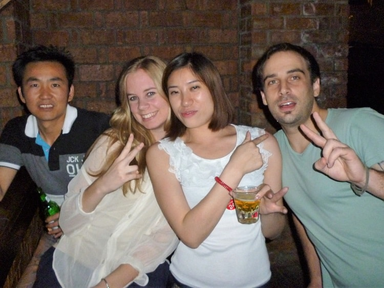 Chinese people drinking with English teachers