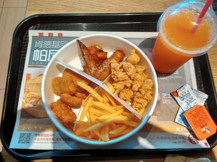 KFC meal in Zhenjiang China