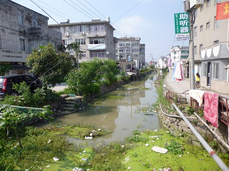 Polluted stream in China