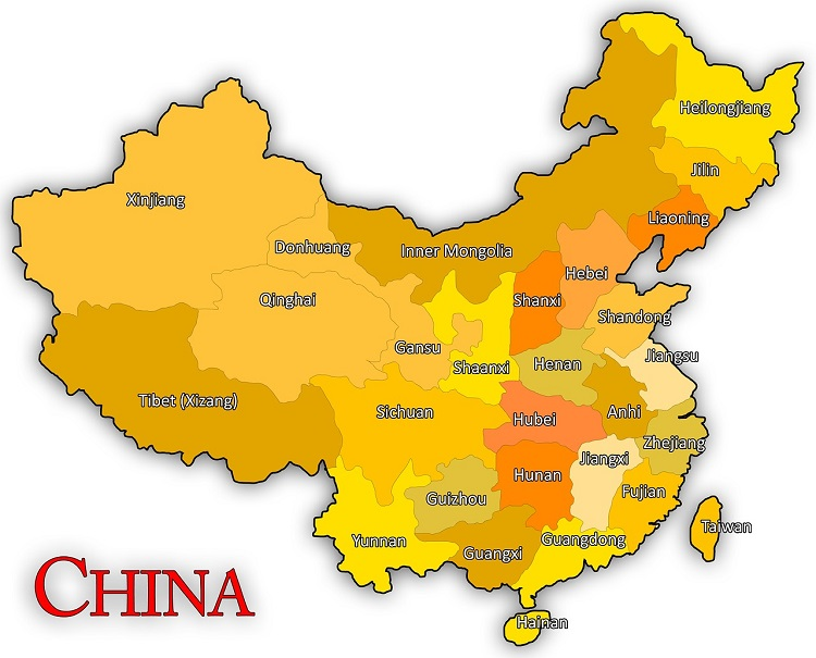 Map of provinces in China