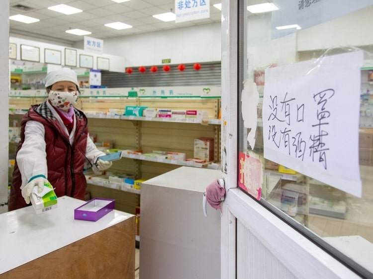 Pharmacy in China sold out of face masks