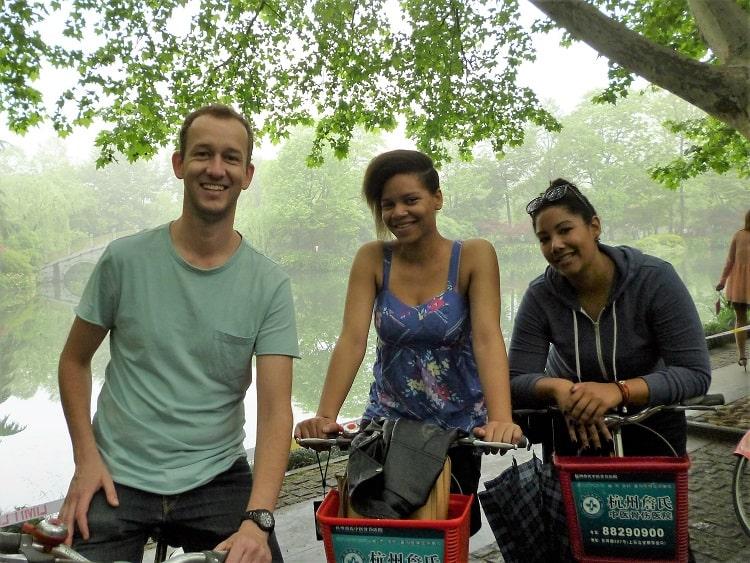 TEFL teachers Hangzhou biking around West Lake