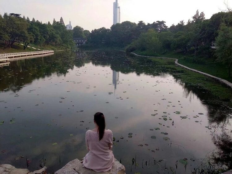 Sitting by a pond in Nanjing China