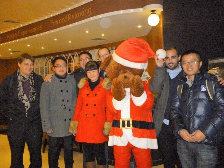 Teachers and students celebrating Christmas in China