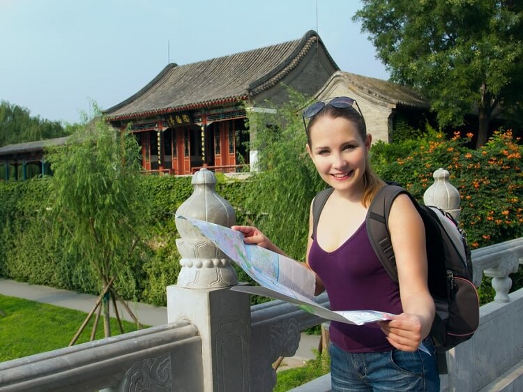 Foreign woman teaching in China