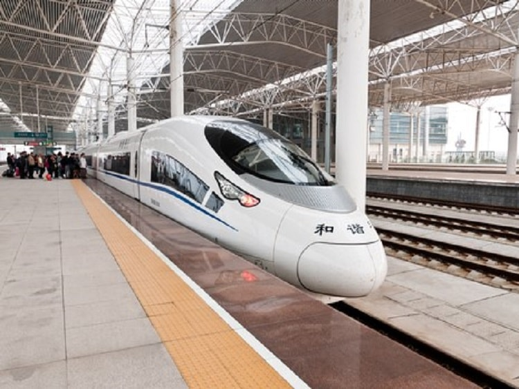Bullet train in China waiting at platform