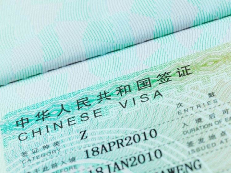 China Z visa in passport to work and teach English in China