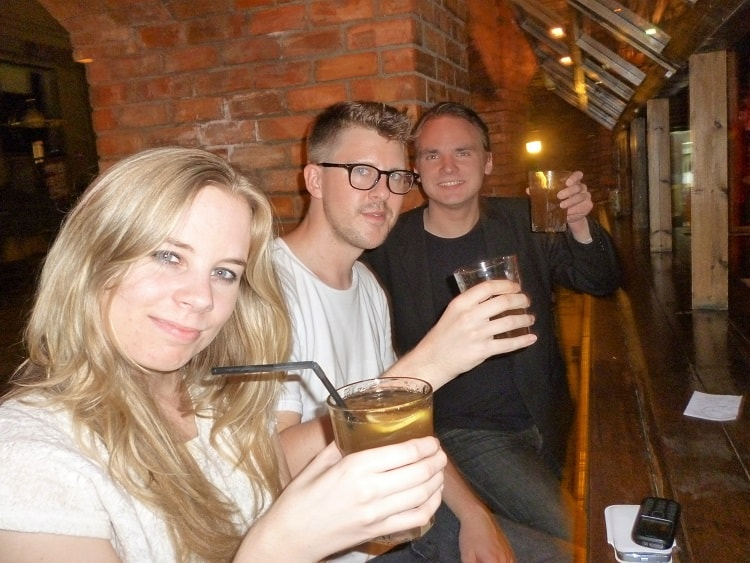 English teachers in China having drinks in a bar