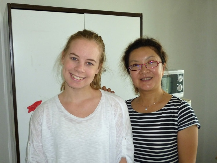 Female English teacher in China with Chinese school liaison officer